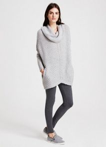 Mint Velvet Silver Grey Chevron Rib Knit