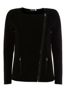 Black Zip Pocket Knitted Jacket