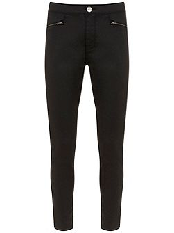 Mint Velvet Tucson Black Coated Zip Denim legging