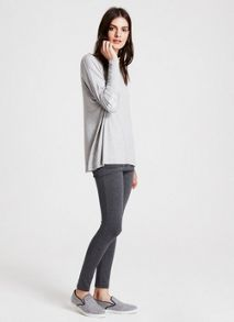 Silver Grey Sequin Elbow Patch Tee