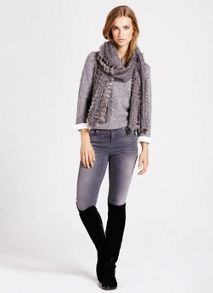Grey Fur Scarf