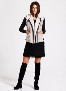 Mint Velvet Grey & Cream Suedette Gilet