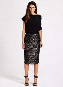 Baroque Sequin Pencil Skirt
