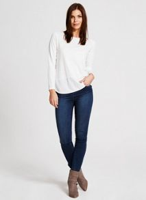 Mint Velvet Ivory Long Sleeve Woven Hem Tee