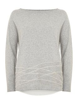 Grey & Ivory Felt Boxy Knit
