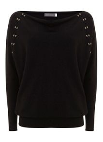Mint Velvet Black stud batwing knit