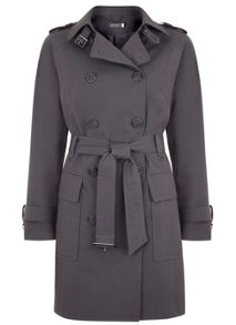 Smoke Cotton Mix Trench Coat