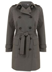 Khaki Cotton Mix Trench Coat