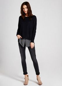 Navy & Ivory Stripe Hem Knit