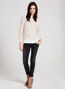 Mint Velvet Blush & Ivory Lace Hem Knit