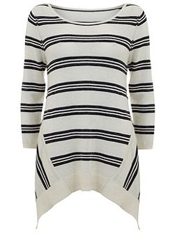 Mint Velvet Navy & Ivory Stripe Tunic