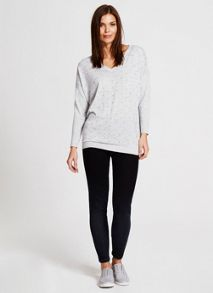 Mint Velvet Silver Grey Beaded V-Neck Knit