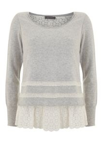 Mint Velvet Silver Grey and Lace Hem Knit