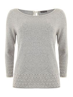 Mint Velvet Silver Grey Pointelle Knit