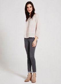 Blush Embroidered Blouson Top