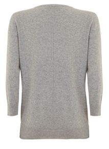 Mint Velvet Silver Grey 3/4 Crew Neck Knit