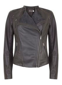 Mint Velvet Graphite Leather & Suede Jacket