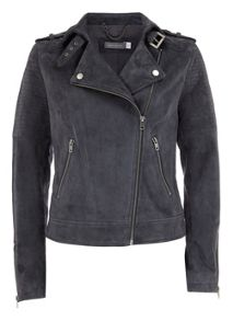 Granite Stitch Detail Suede Biker Jacket