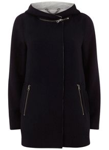Navy Zip Collar Coat