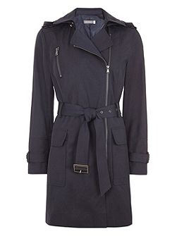 Navy Hooded Trench Coat