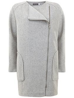 Silver Grey Jersey Lined Cocoon Coat