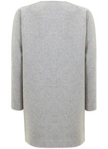 Mint Velvet Silver Grey Jersey Lined Cocoon Coat