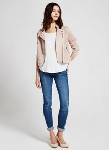 Mint Velvet Blush Washed Denim Biker Jacket