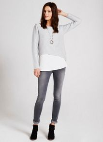 Silver & Ivory Ribbed Shirt Tail Knit