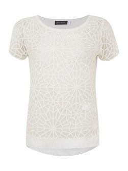 Ivory Geometric Burnout Tee