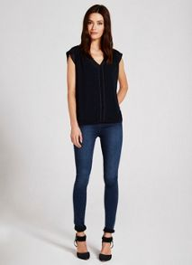 Navy Beaded Blouson Top
