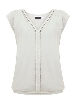 Ivory Beaded Blouson Top
