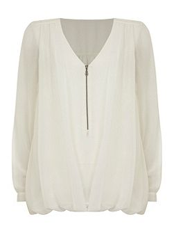 Ivory Double Layer Zip Blouse