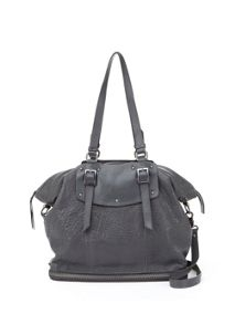 Stevie Charcoal Leather Tote