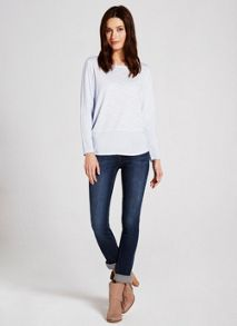 China Blue Long Sleeve Woven Hem Tee