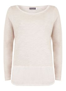 Blush Long Sleeve Woven Hem Tee