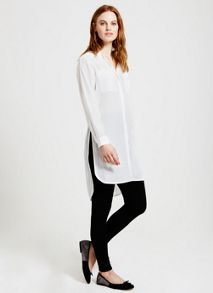 Mint Velvet Ivory Longline Button Shirt