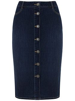 Indigo Denim Button Pencil Skirt