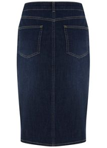 Mint Velvet Indigo Denim Button Pencil Skirt
