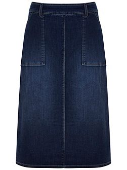 Mid Indigo Side Split Denim Skirt