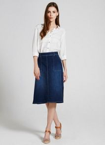 Mint Velvet Mid Indigo Side Split Denim Skirt