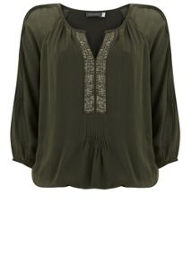 Mint Velvet Khaki Sequin Placket Blouson