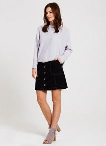 Blue/Black Button Mini Skirt