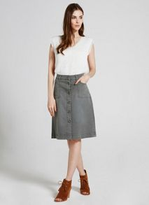 Mint Velvet Washed Khaki Button Midi Skirt