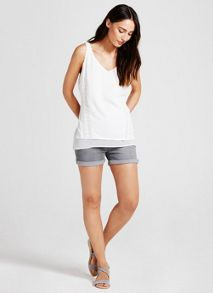 Mint Velvet Distressed Grey Denim Short