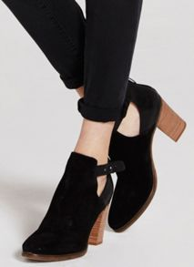 Black Viola Cut Out Ankle Boot
