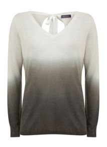Mint Velvet Khaki V-Neck Ombre Knit