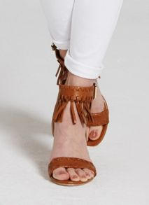Mint Velvet Tan Adele Fringe Wedge