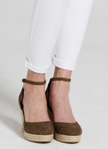 Mint Velvet Khaki Ada Stud Wedge