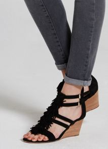 Mint Velvet Black Iona Fringe Wedge