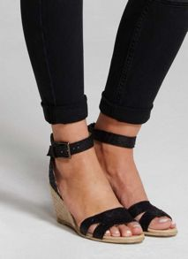 Mint Velvet Black Flo Leather Wedge